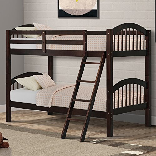 Harper&Bright Designs Twin-Over-Twin Bunk Beds Solid Hardwood Twin Bunk Bed for...