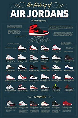 Inked and Screened Poster, Motiv: Sneaker, Michael Jordan Schuhe, AJ, Geschichte, Poster, Wandkunst, Gemälde, 60 x 91 cm