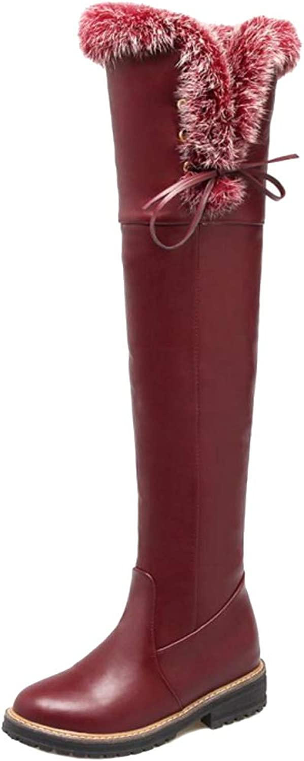 Melady Women Casual Winter shoes Warm Lining Thight High Boots Pull On