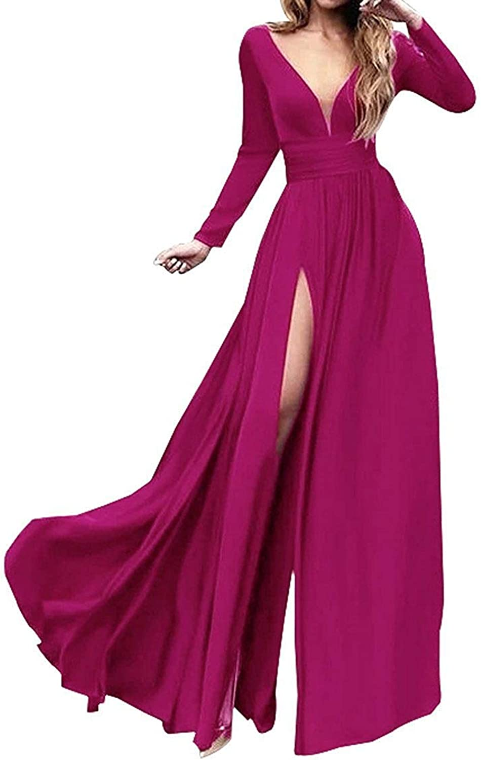 Sulidi Women's Sexy Double VNeck Long Sleeves Prom Dresses Side Slit Evening Gowns C099