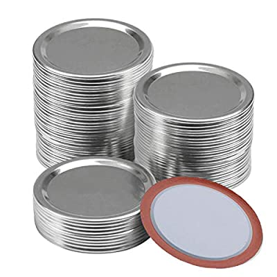 100 Pcs Regular Mouth Canning Lids,70MM Mason Jar Canning Lids, Reusable Leak Proof Split-Type Silver Lids with Silicone Seals Rings