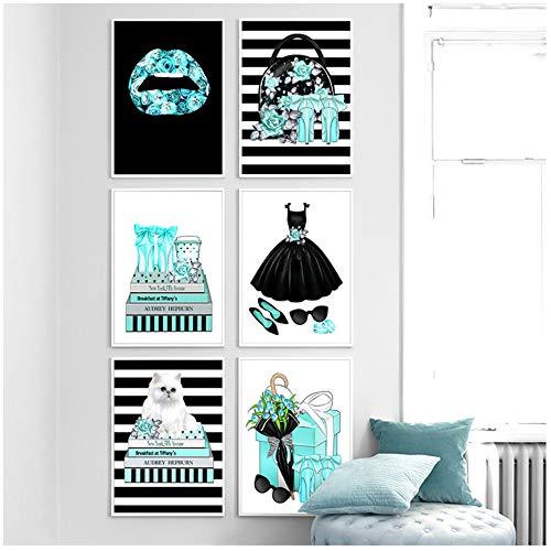 RuiChuangKeJi Wall Art Canvas Schilderij Blauwe Bloem Lippen Kat Hoge Hakken Tas Jurk Nordic Posters Prints Muurfoto's Woonkamer Decor 6x19.7