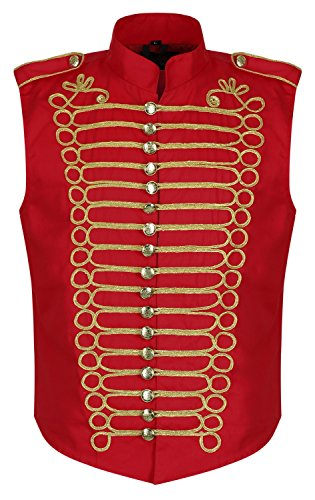 Ro Rox Men's Red Gold Military Drummer Sleeveless Parade Jacket Vest - (Men's M)