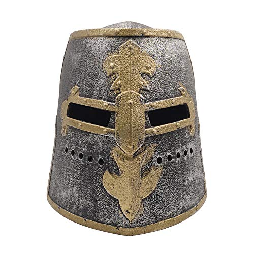 LOOYAR Kids Toy Middle Ages Medieval Crusader Knight Soldier Warrior Costume Helmet with Folding Face Mask for Boys Battle Play Halloween Cosplay LARP