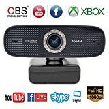 Webcam Full HD 1080P USB Camera with Dual Microphones 100 Degree Wide Angle Computer Streaming Camera for YouTube OBS Twitch Skype Web Cam Compatible for Mac Windows 10/8/7