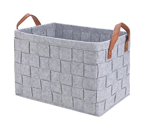 Collapsible Storage Basket Bins, Foldable Handmade Rectangular Felt Fabric Storage Box Cubes Containers with Handles- Large Organizer For Nursery Toys,Kids Room,Towels,Clothes, Grey ?16x11.8x11.5?