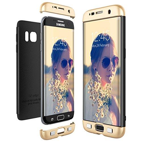 CE-Link Cover per Samsung Galaxy S7 Edge 360 Gradi Full Body Protezione, Custodia S7 Edge Silicone 3 in 1 Antishock e Antiurto, Samsung S7 Edge Case - Oro + Nero