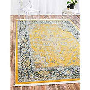 Unique Loom Baracoa Collection Bright Tones Vintage Traditional Yellow Area Rug (8′ 4 x 10′ 0)