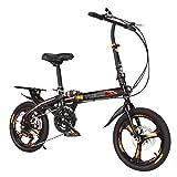 ZDXC Bicicleta de Ciudad Plegable de 16 Pulgadas / 20 Pulgadas, Bicicleta Urbana Hombre Mujer Velocidad Variable Sistema de Frenos de Disco Doble Bicicleta de Amortiguación, Absorción de Impactos