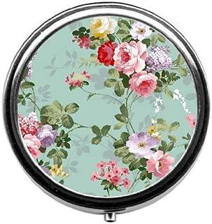 BeeGogo - Vintage Floral Custom Round Silver Pill Box Pocket 2.1 inches Medicine Tablet Holder Organizer Case for Purse