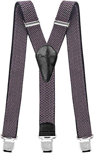 Decalen Hosenträger für Herren breit extra starken Clips Y Form Lang Eine Größe Passt Alle Männer und Damen Verschiedenen Farben (Grau)
