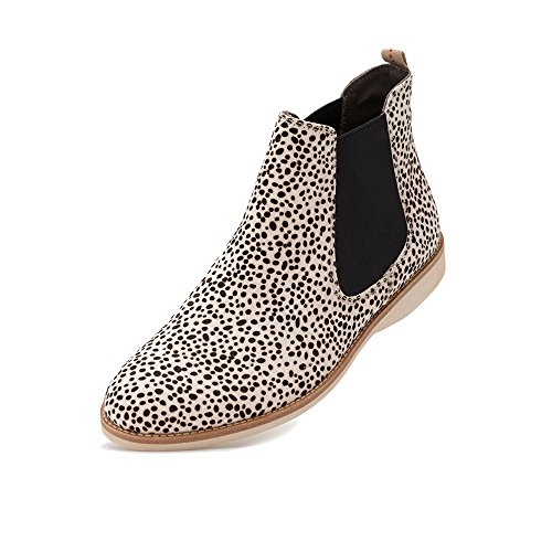 Rollie Women's Chelsea Snow Leopard, White Leopard Print Haircalf Boots White Flat Boots for Women with Elastic Panels, Size 7 US / 38 EU