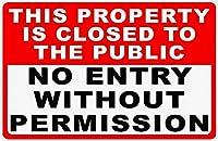 許可なく入場できません 金属板ブリキ看板警告サイン注意サイン表示パネル情報サイン金属安全サイン