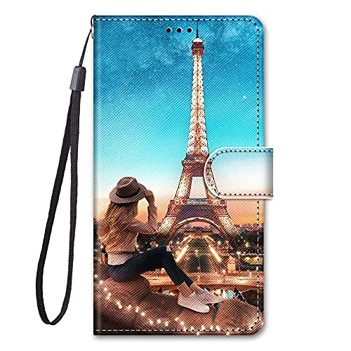 KAISENSHUO Cover per Samsung Galaxy J5 2017 Case, Creative Painted Wallet Case PU Leather Flip Magnetic Colourful Kickstand Card Slots Folio Protection Case,Torre di Ferro