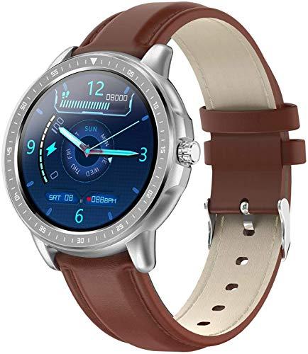 ZHENAO Smart Watch 1.3 Pulgadas Pantalla Grande Hd Pulsera Inteligente Sports Paso Contador Recordatorio Inteligente Ip67 Impermeable Desgaste diario/Marrón