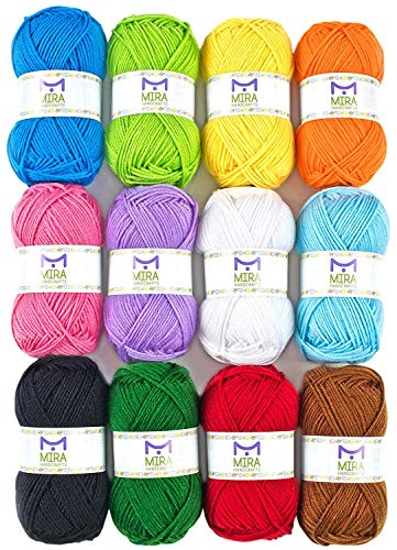 Mira Handcrafts 50g Large Yarn Bonbons – Total of 1200m Knitting and Crochet Yarn – Starter Kit...