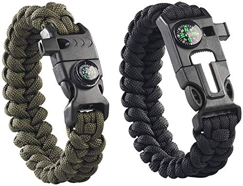 Semptec Urban Survival Technology Paracord: 2er-Set Survival-Armband mit Kompass, Seil, Pfeife, Feuerstahl, Messer (Paracord Armband mit Messer)