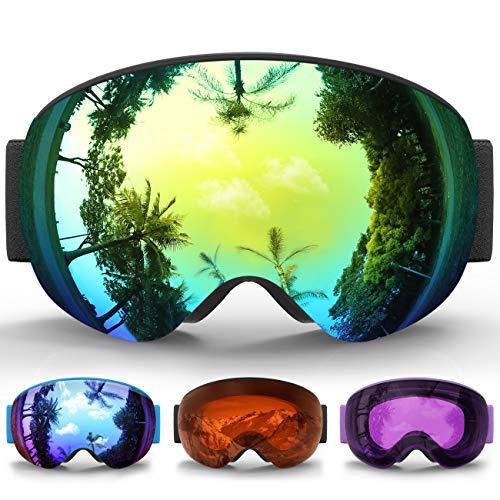 eDriveTech Maschera da Sci Bambino, Occhiali Maschera Sci Snowboard Neve Specchio per Bambina Bambini Ragazzo Ragazza EtàAntinebbia Antivento Occhiale Maschere da Sci Anti-UV OTG Magnetica Sferica