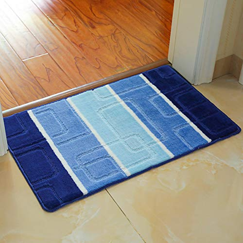 FEIYING Teppichboden Aus Polypropylen, Teppich Aus Jacquard Für Den Haushalt, rutschfeste Badmatte(Color:Blau,Size:50 * 80)