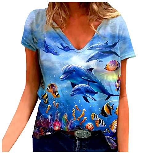 Camiseta Mujer de Manga Corta Blusa con Estampado de Animales Marinos Talla Grande, Tops Casuales Holgados con Cuello Redondo Mujer Abrigo Deportiva Sudaderas Mujer Baratas 2021