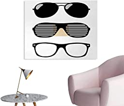 Tudouhoho Indie Cool Poster Set of Stylized Old Fashioned Sunglasses Summer Accessories Hipster Vintage Home Decor Wall Black and White W48 xL32