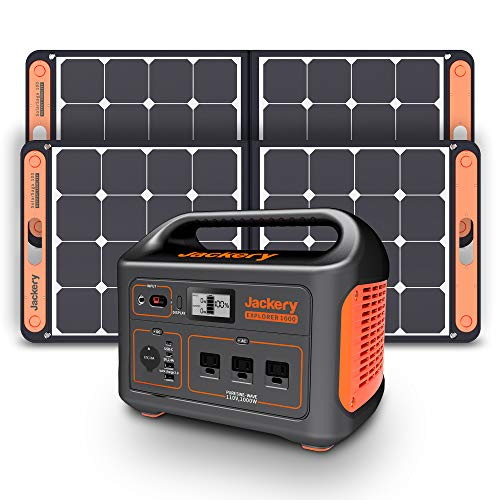 Jackery Solar Generator 1000, Explorer 1000 and 2X SolarSaga 100W with 3x110V/1000W AC Outlets, Solar Mobile Lithium Battery Pack for Outdoor RV/Van Camping, Emergency