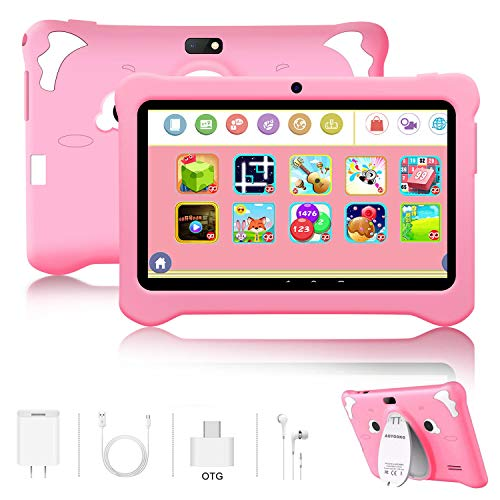 Kinder Tablet 7 Zoll , Android 9.0 Zertifiziert von Google GMS 3GB RAM, 32GB ROM Kindertablet IPS HD, Google Play vorinstalliert mit Schutzhülle, Quad-Core, Dual Camera, WiFi, Bluetooth, Rosa
