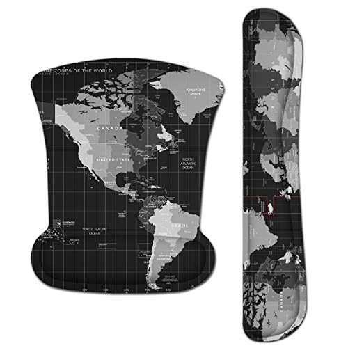 Keyboard Wrist Rest Pad Ergonomic Mouse Pad Set, ToLuLu Mouse Pad for Computer Laptop, Non Slip Mousepad Keyboard Wrist Support with Raised Memory Foam for Easy Typing Pain Relief, Cool World Map