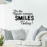 HNXDP Fashion Be The Reason Someone Smiles Pegatinas de pared Autoadhesivo Art Wallpaper Vinyl Stickers Diy Accesorios de decoración del hogar Rojo XL 57cm X 76cm