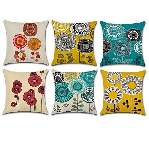HuifengS Fundas de cojín cuadradas de Lino para sofás o Camas,Flores abstractas, Juego de 6 Fundas de cojín, 45 x 45 cm