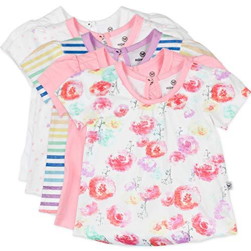 HonestBaby Organic Cotton Puff Sleeve T-Shirt Multi-Packs, 5-Pack Rose Blossom, Preemie