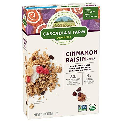 Cascadian Farm Organic Granola, Cinnamon Raisin Cereal, 6 Boxes, 15.6 oz