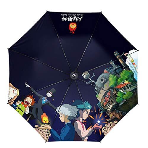 Sun & Rain Gemperty Away & totoro & Howls Moving Castle & Ponyo auf dem Cliff-Druck-Regenschirm Cosplay um Anima Mini-Reise-Regenschirm, tragbarer leichter kompakter Sonnenschirm mit 98% UV-Schutz für