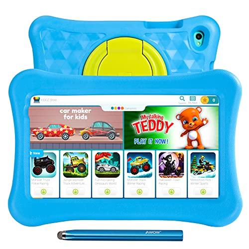 Tablet per Bambini da 8 Pollici,2 GB +332 GB ROM,AWOW Funtab 801 Certificato COPPA KIDOZ e Google Play preinstallati, WiFi e Blutooth, tablet Android 11 Go per Bambini con Penna Tattile, Custodia Blu