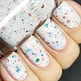 Oh Splat White Glitter Nail Polish with Rainbow Glitters- 0.5 oz Full Sized Bottle