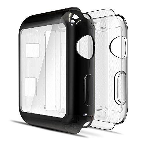 Simpeak 2-Stück Hülle Kompatibel mit Apple Watch 42mm Series 3/2 [2 Pcs], Schutzhülle Leicht Weiche Silikon Superdünne TPU Hülle Kompatibel für iWatch 42mm - Transparent+Schwarz