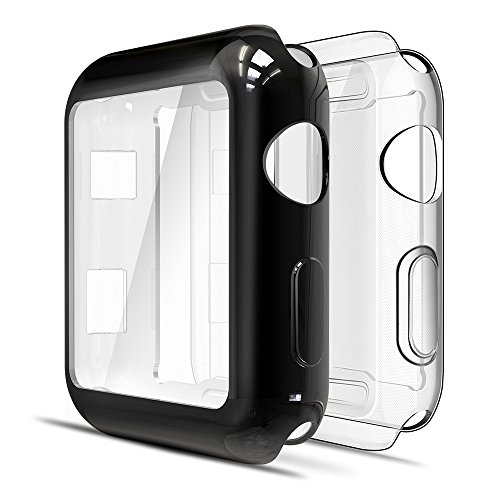 Simpeak Cover Compatibile per Apple Watch 42mm Series 2 3(Confezione da 2), Custodia Compatibile per iWatch Full Protettivo TPU Caso 42mm, Transparent+Nero