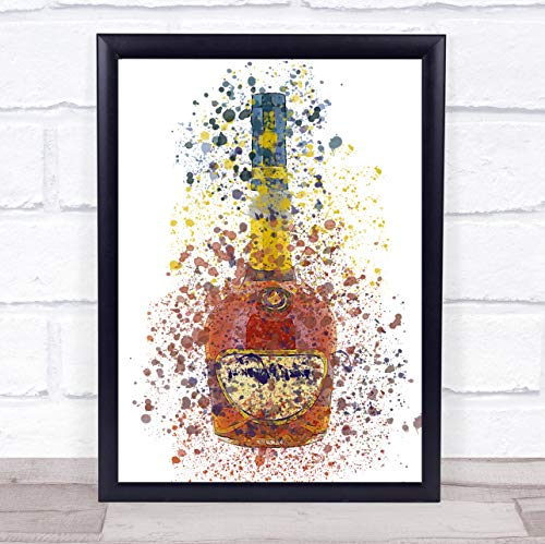Cognac Brandy Fles Wall Art Ingelijste Print Framed Oak Small