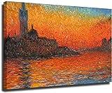 Cuadros de Pared 20x30cm sin Marco Nuevo Claude Monet Venecia Crepúsculo Cuadro Pintura Reproducción de Cuadros Cuadro para decoración Moderna del hogar