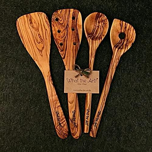 What the Art!® Olive Wood «The Chef» Gr. M   Olivenholz Kochbesteck 4er Set + Geschenk   30 cm   Pfannenwender + Pfann. gelocht + Kochlöffel + Reislöffel
