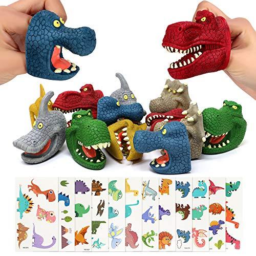 Joinfun Dinosaurier Party Mitgebsel 24 Stück Fingerpuppen Dinosaurier Tattoo Aufkleber Kinder Spielzeug Fingerpuppen Tiere Weihnachten Osterei Füller