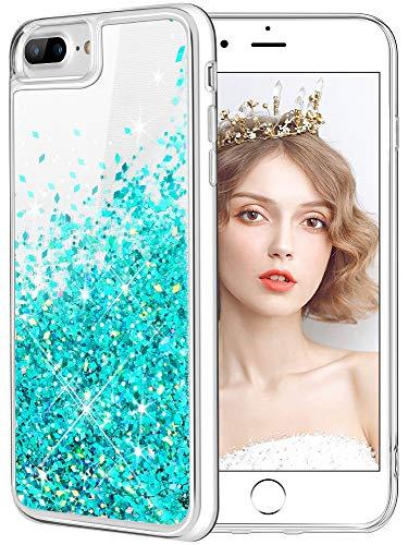 wlooo Funda para iPhone 8 Plus, Fundas iPhone 7 Plus, Glitter liquida Gradiente Silicona TPU Bumper Case Brillante Arena movediza Carcasa para iPhone 6 Plus/6s Plus/7 Plus/8 Plus (Teal)