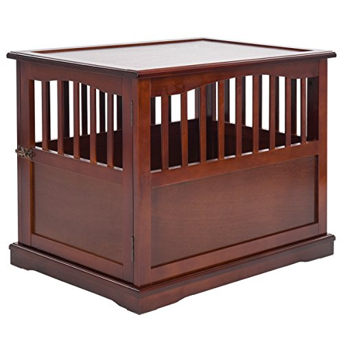 Giantex Wood Pet Dog Kennel Crate End Table Cat Dog House Kennel Cage