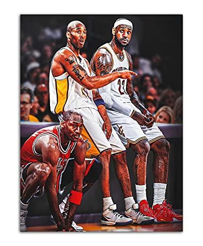 Póster de LeBron James de Michael Jordan de Kobe Bryant para pared con impresión en lienzo de pintura de baloncesto (50 x 66 cm), sin enmarcar