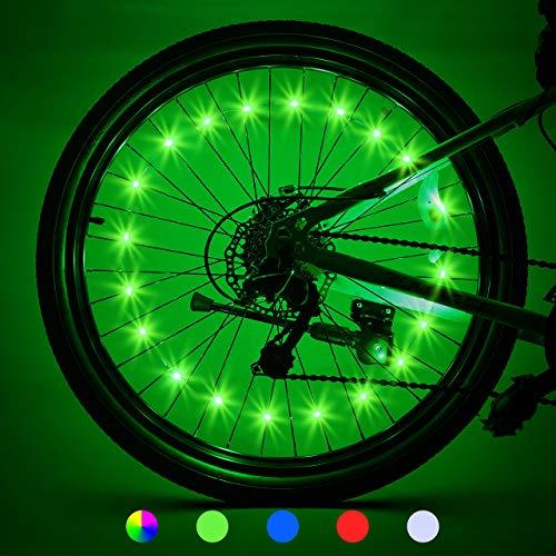 LET'S GO! Bike Wheel Lights Best Gifts for Men Gifts for Teens Boys Girls Easter Basket Stuffing & Birthday Gifts Presents for 5-18+ Boys Best Gifts for Dad, Brother, Uncle (2-Tire Pack, Green)