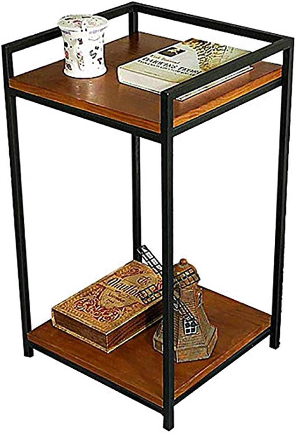 2-Tier Wooden End Table, Side Table, Coffee Table,Snack Storage Table with Metal Frame for Living Room, Bedroom, Balcony