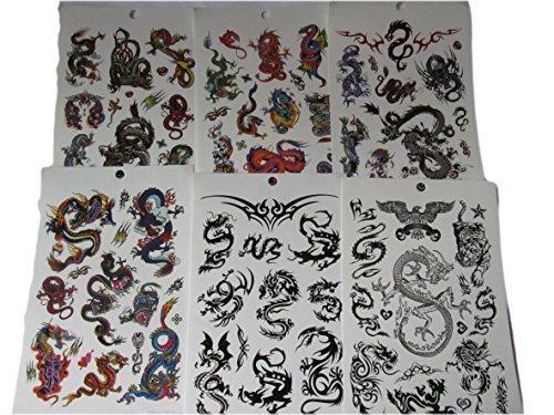 One Book of 6 Blätter Herren Jungen Groß Schwarz Celtic Chinesischer Drache Celtic Tribal stil Temporäre Tattoos für die parteien, gifts, usw - von Fat-catz-copy-catz