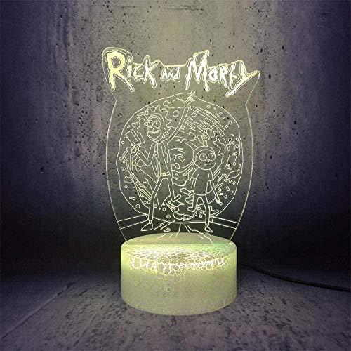 Baby Spielzeug Lámpara de ilusión 3D LED noche luz Rick y Morty Caminar Comedia divertido papel de dibujos animados interesante novia regalos decoración del hogar