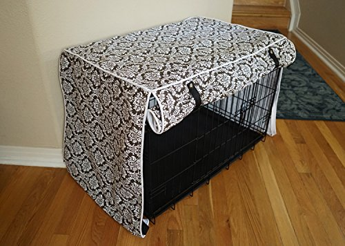 528zone Designer Brown Damask Dog Pet Wire Kennel Crate Cage House Cover (Small, Medium, Large, XL, XXL) (Small 24x18x21)