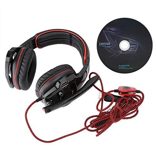 Auriculares estéreo, Auriculares para Juegos, Auriculares para Colocar sobre la Oreja, Auriculares Flexibles para Colocar sobre la Oreja, para teléfono, para(Black Red)